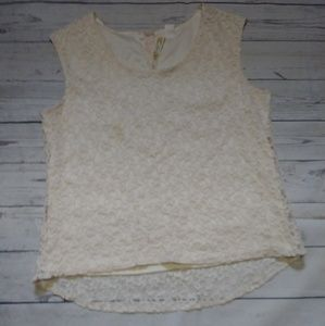 Adiva Women's Lace Tank Top Size Large Cream Color